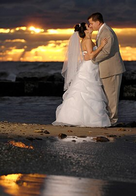 Elope on Lake Erie with a private ceremony on the beach at sunset
