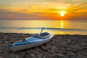 kayak rental at sunset on Lake Erie
