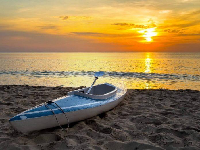 kayak rental at sunset on Lake Erie