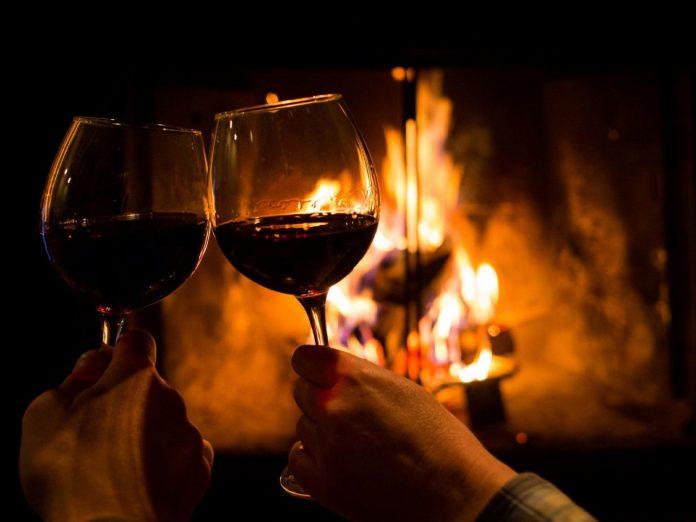 romantic getaway fireplace couples getaway wine romance