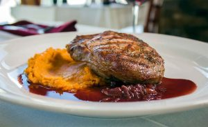 Steak and sweet potatoes at Crosswinds Grille.