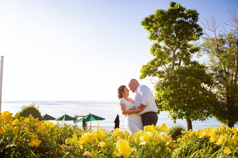 Lakehouse Inn Geneva On the Lake Wedding Venue Bride and Groom