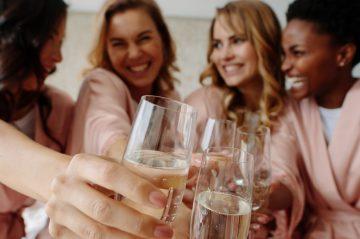 Women celebrate a bachelorette party of bride